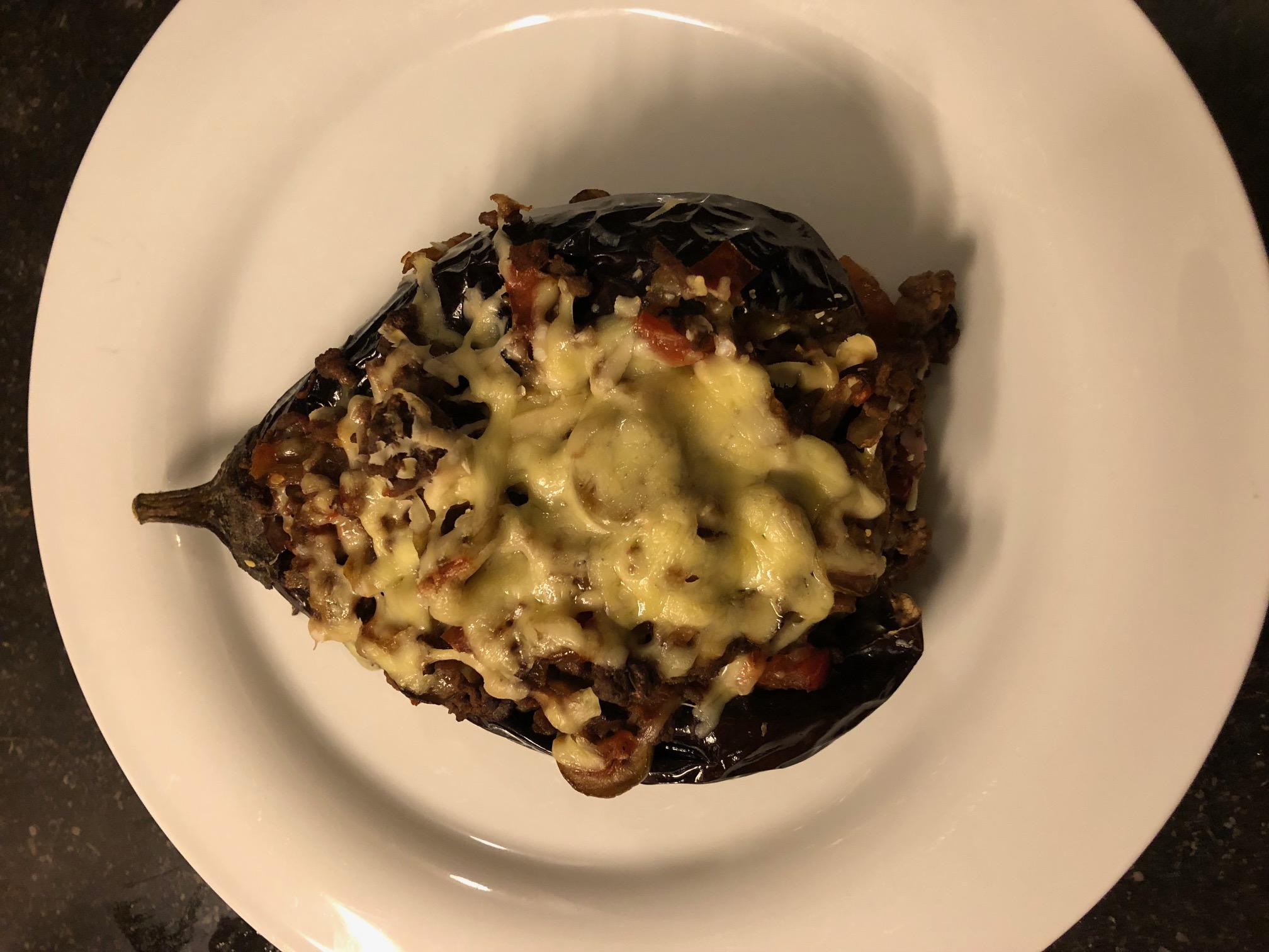Gepofte aubergine met gehakt - mager recept