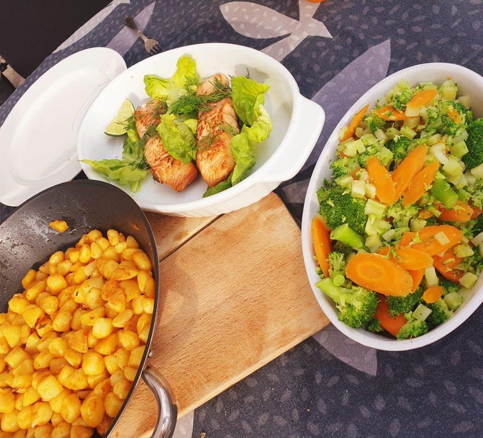 Aardappels,vis en groenten